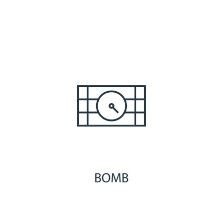 bomb concept line icon. Simple element illustration. bomb concept outline symbol design. Can be used for web and mobile UI Imagens - 130704996