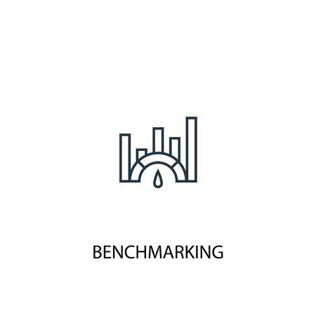 Benchmarking-Konzept Symbol Leitung. Einfache Elementabbildung. Benchmarking-Konzept skizziert Symboldesign. Kann für Web- und mobile Benutzeroberflächen verwendet werden