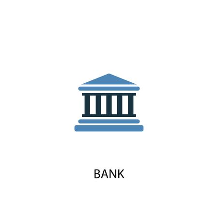 bank concept 2 colored icon. Simple blue element illustration. bank concept symbol design. Can be used for web and mobile Foto de archivo - 130776515