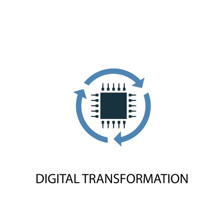 digital transformation concept 2 colored icon. Simple blue element illustration. digital transformation concept symbol design. Can be used for web and mobile