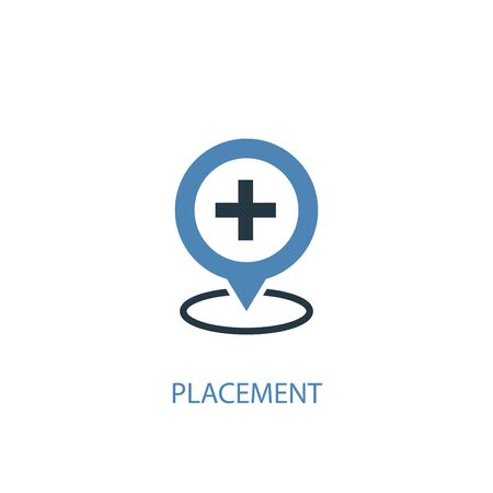 placement concept 2 colored icon. Simple blue element illustration. placement concept symbol design. Can be used for web and mobile Illustration