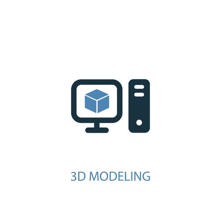 3d modeling concept 2 colored icon. Simple blue element illustration. 3d modeling concept symbol design. Can be used for web and mobile