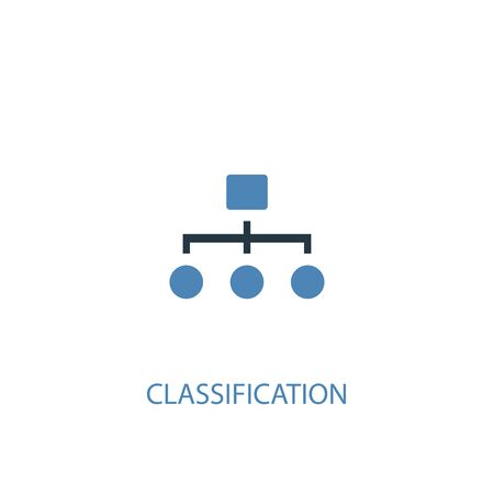 Classification concept 2 colored icon. Simple blue element illustration. Classification concept symbol design. Can be used for web and mobile Illustration