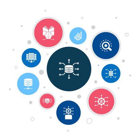 Data integration Infographic 10 steps bubble design.database, data scientist, Analytics, Machine Learning icons Çizim