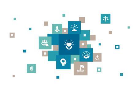 Infographie RSE 10 étapes pixel design.responsibility, durabilité, éthique, icônes d'objectif