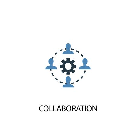 collaboration concept 2 colored icon. Simple blue element illustration. collaboration concept symbol design. Can be used for web and mobile Çizim