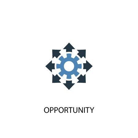 Gelegenheitskonzept 2 farbiges Symbol. Einfache blaue Elementillustration. Gelegenheit-Konzept-Symbol-Design. Kann für Web und Mobile verwendet werden
