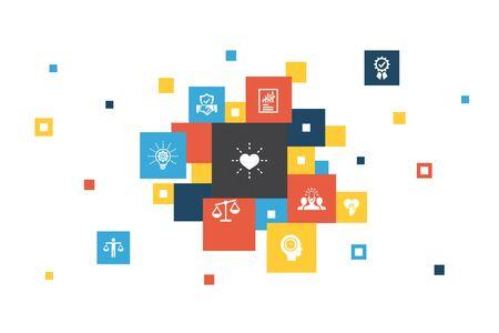 Valeurs fondamentales Infographie 10 étapes pixel design.trust, honnêteté, éthique, icônes d'intégrité Vecteurs