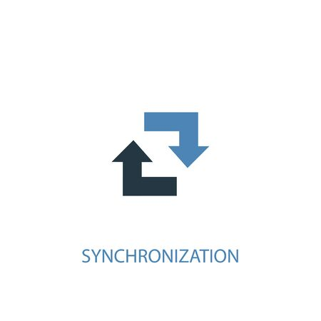 synchronization concept 2 colored icon. Simple blue element illustration. synchronization concept symbol design. Can be used for web and mobile