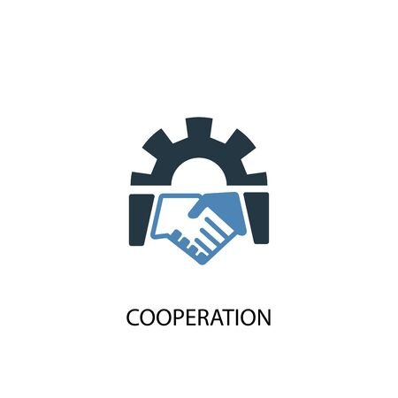 cooperation concept 2 colored icon. Simple blue element illustration. cooperation concept symbol design. Can be used for web and mobile