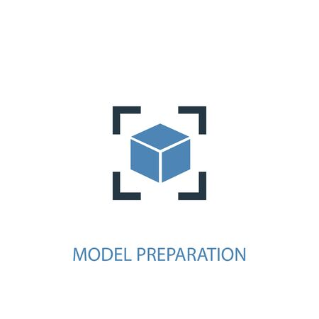 model preparation concept 2 colored icon. Simple blue element illustration. model preparation concept symbol design. Can be used for web and mobile