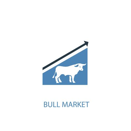 Bull Market concept 2 colored icon. Simple blue element illustration. Bull Market concept symbol design. Can be used for web and mobile