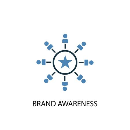 Brand Awareness concept 2 colored icon. Simple blue element illustration. Brand Awareness concept symbol design. Can be used for web and mobile