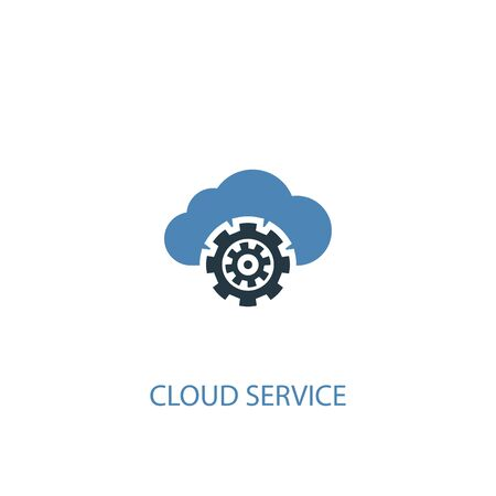 Cloud service concept 2 colored icon. Simple blue element illustration. Cloud service concept symbol design. Can be used for web and mobile