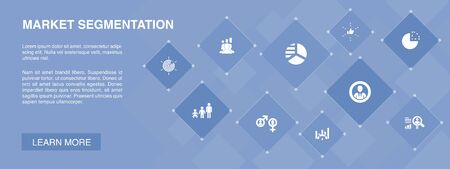 market segmentation banner 10 icons concept.demography, segment, Benchmarking, Age group simple icons 向量圖像