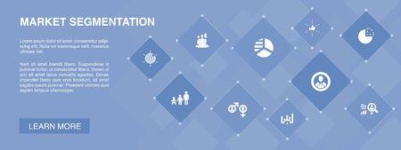 market segmentation banner 10 icons concept.demography, segment, Benchmarking, Age group simple icons Illustration
