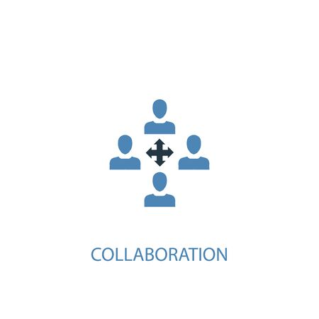 collaboration concept 2 colored icon. Simple blue element illustration. collaboration concept symbol design. Can be used for web and mobile Иллюстрация