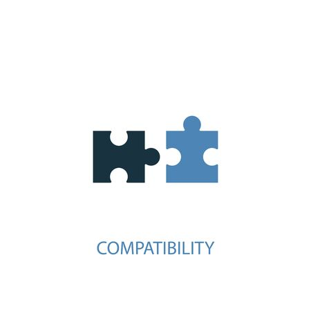 compatibility concept 2 colored icon. Simple blue element illustration. compatibility concept symbol design. Can be used for web and mobile