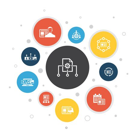 Content Management Infographic 10 steps bubble design.CMS, content marketing, outsourcing, digital content icons