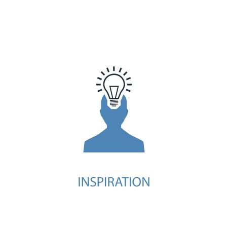 inspiration concept 2 colored icon. Simple blue element illustration. inspiration concept symbol design. Can be used for web and mobile UI  イラスト・ベクター素材