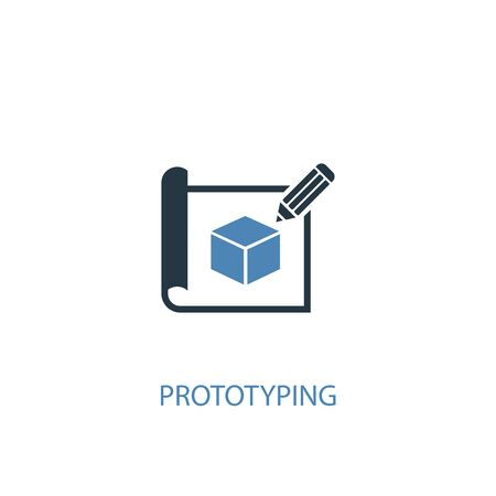prototyping concept 2 colored icon. Simple blue element illustration. prototyping concept symbol design. Can be used for web and mobile