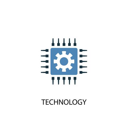 technology concept 2 colored icon. Simple blue element illustration. technology concept symbol design. Can be used for web and mobile