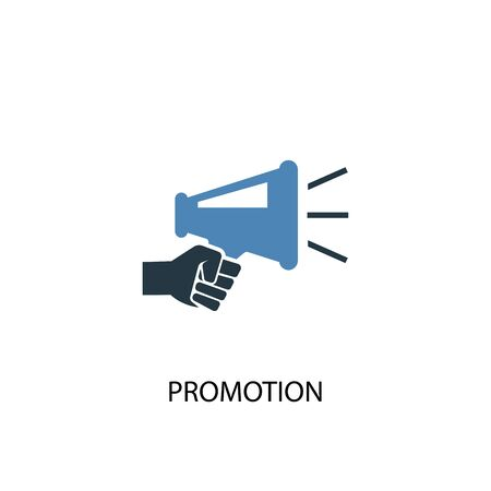 Promotion concept 2 colored icon. Simple blue element illustration. Promotion concept symbol design. Can be used for web and mobile