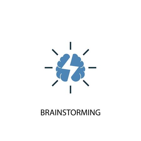 brainstorming concept 2 colored icon. Simple blue element illustration. brainstorming concept symbol design. Can be used for web and mobile UI