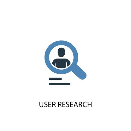 User research concept 2 colored icon. Simple blue element illustration. User research concept symbol design. Can be used for web and mobile