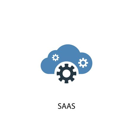 SaaS concept 2 colored icon. Simple blue element illustration. SaaS concept symbol design. Can be used for web and mobile