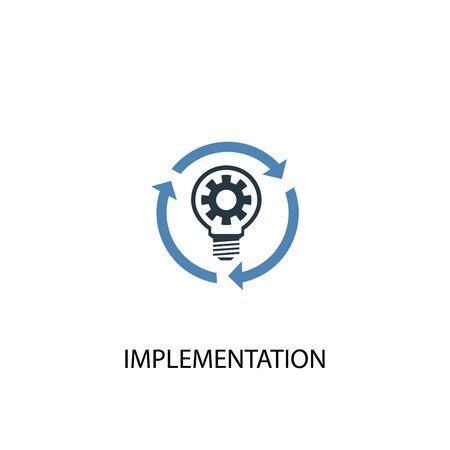 icône de couleur du concept de mise en œuvre 2. Illustration de l'élément bleu simple. conception de symbole de concept de mise en œuvre. Peut être utilisé pour le Web et le mobile Vecteurs