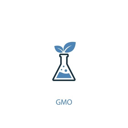 GMO concept 2 colored icon. Simple blue element illustration. GMO concept symbol design. Can be used for web and mobile Banque d'images - 130776092