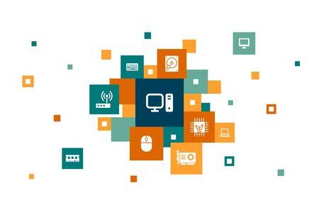 Computer Infographic 10 steps pixel design.CPU, Laptop, Keyboard, hard drive icons