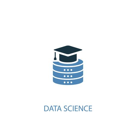 Data science concept 2 colored icon. Simple blue element illustration. Data science concept symbol design. Can be used for web and mobile