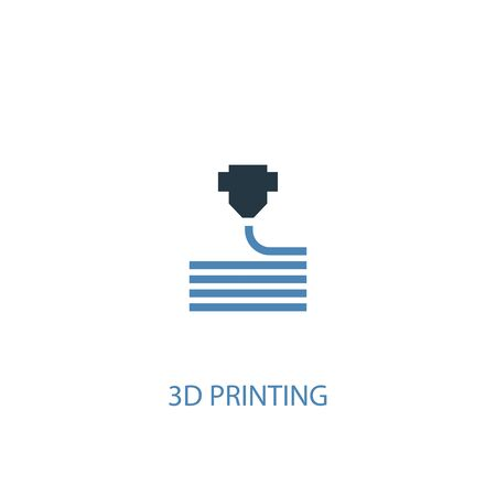 3d printing concept 2 colored icon. Simple blue element illustration. 3d printing concept symbol design. Can be used for web and mobile Ilustração