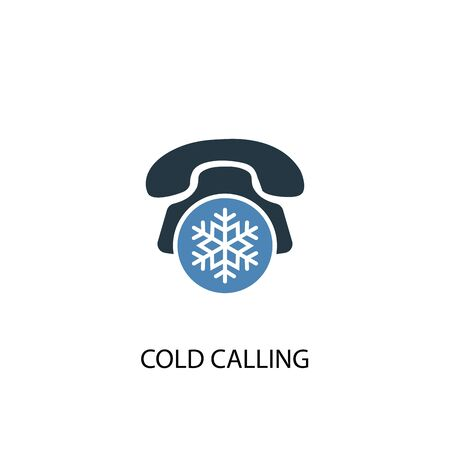 Cold Calling concept 2 colored icon. Simple blue element illustration. Cold Calling concept symbol design. Can be used for web and mobile