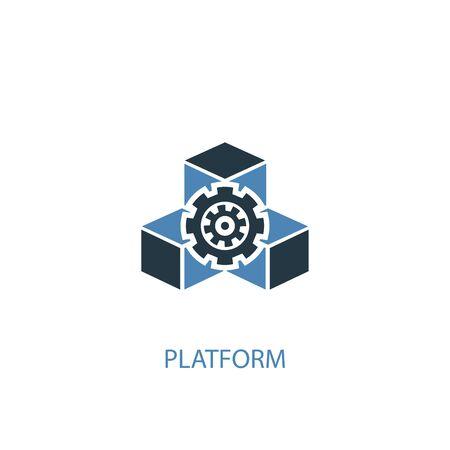 platform concept 2 colored icon. Simple blue element illustration. platform concept symbol design. Can be used for web and mobile  イラスト・ベクター素材