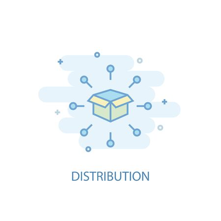 distribution line concept. Simple line icon, colored illustration. distribution symbol flat design. Can be used for