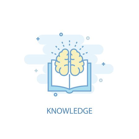 knowledge line concept. Simple line icon, colored illustration. knowledge symbol flat design. Can be used for Çizim
