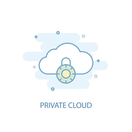 Private cloud line concept. Simple line icon, colored illustration. Private cloud symbol flat design. Can be used for Çizim