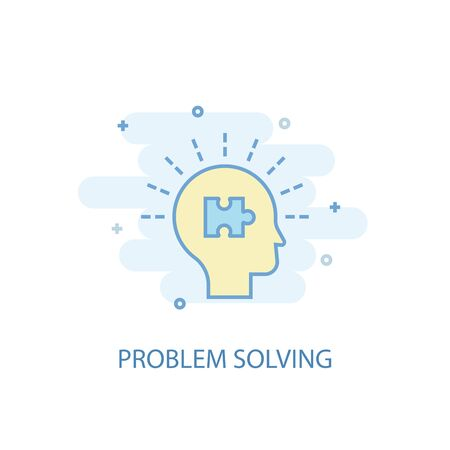 problem solving line concept. Simple line icon, colored illustration. problem solving symbol flat design. Can be used for