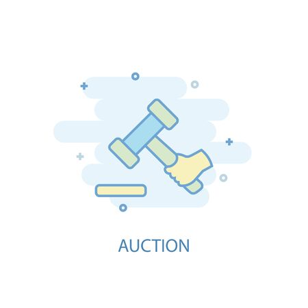 Auction line concept. Simple line icon, colored illustration. Auction symbol flat design. Can be used for