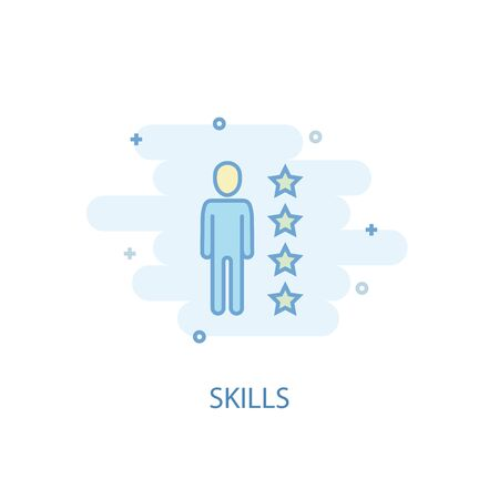 skills line concept. Simple line icon, colored illustration. skills symbol flat design. Can be used for