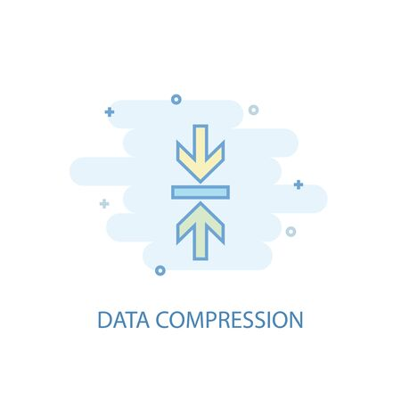 Data Compression line concept. Simple line icon, colored illustration. Data Compression symbol flat design. Can be used for Иллюстрация