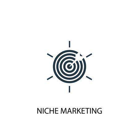 Ikona marketingu niszowego. Prosta ilustracja elementu. Projekt symbolu koncepcji marketingu niszowego. Może być używany do internetu