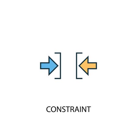 Printconstraint concept 2 colored line icon. Simple yellow and blue element illustration. constraint concept outline symbol design