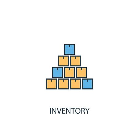 inventory concept 2 colored line icon. Simple yellow and blue element illustration. inventory concept outline design