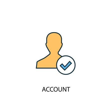 account concept 2 colored line icon. Simple yellow and blue element illustration. account concept outline design