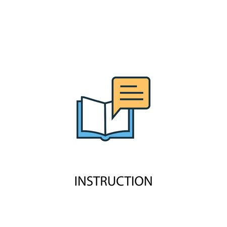 instruction concept 2 colored line icon. Simple yellow and blue element illustration. instruction concept outline symbol Ilustrace