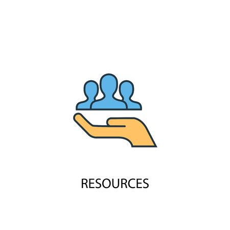 resources concept 2 colored line icon. Simple yellow and blue element illustration. resources concept outline design